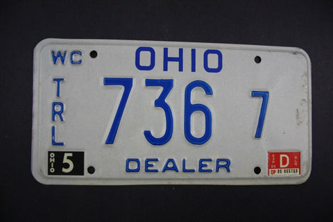 1985 Original Vintage Ohio License Plate TRL-736-7 DEALER