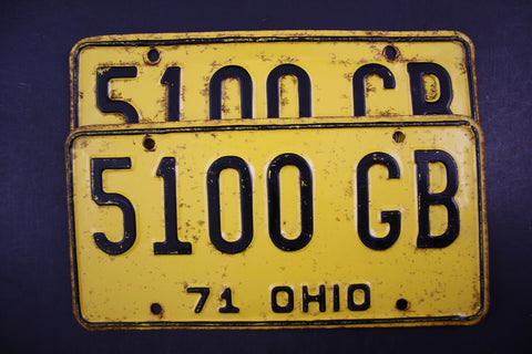 1971 Original Vintage Ohio License Plate Pair 5100-GB