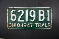 1947 Original Vintage Ohio Trailer License Plate 6219-B1