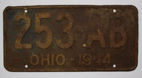 1944 Vintage Original OHIO License Plate Tag 253-AB