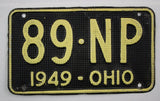1949 Vintage Original OHIO License Plate Tag 89-NP- Aluminum Waffle - Shorty
