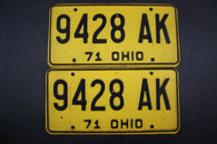 1971 Vintage Original Ohio License Plate 9428-AK PAIR
