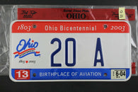 2001 OHIO License Plate 20-A Embossed 2004 Sticker Birthplace Aviation (O-31