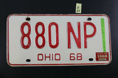Vintage 1968 OHIO License Plate 880-NP Montgomery County Tax Sticker (H23