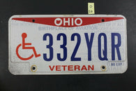2013 OHIO License Plate 332-YQR - Veteran Handicap Disabled - NO EXP (O-56