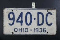 VINTAGE 1936 OHIO LICENSE PLATE - 940-DC - Repainted (X-59