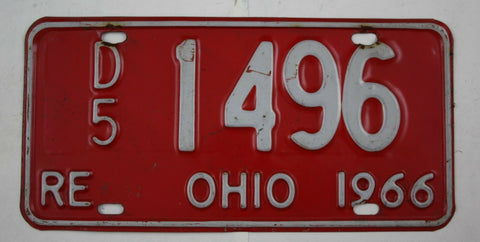 Vintage 1966 Original OHIO RE Re-Issued Dealer Replacement License Plate D5 1496
