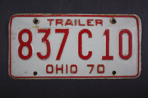 1970 Vintage Original Ohio License Plate 837-C-10 TRAILER