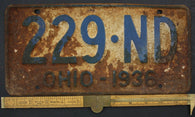 1936 Vintage Original OHIO License Plate 229-ND