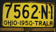 1950 Vintage Original OHIO License Plate 7562-N1 TRAILER