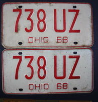1968 Vintage Original Ohio License Plate 738-UZ PAIR