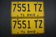 1971 Vintage Original Ohio License Plate 7551-TZ PAIR