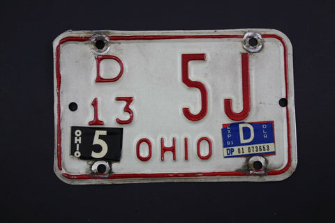 1981 Vintage Original OHIO License Plate Motorcycle Dealer 5J
