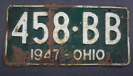 1947 Vintage Original Ohio License Plate 458-BB
