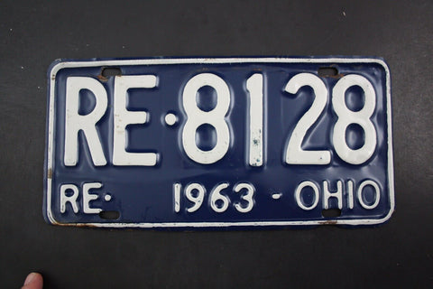 1963 Vintage Original OHIO License Plate RE-8128 REISSUED