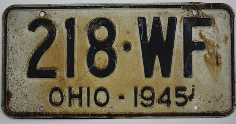 1945  Vintage Original OHIO  License Plate 218WF