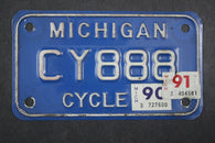 1990 1991 Vintage Michigan Motorcycle License Plate CY 888