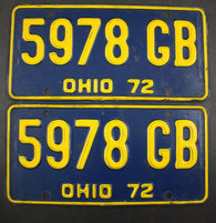 1972 Vintage Original Ohio License Plate 5978-GB PAIR