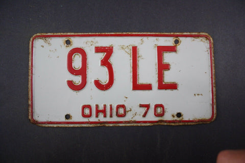 1970 Vintage Original Ohio License Plate 93-LE