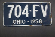 1958 Vintage Original Ohio License Plate 704-FV