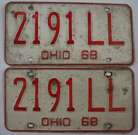 1968 Vintage Original OHIO License Plate 2191-LL PAIR