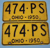1950 Vintage Original Pair of OHIO License Plates 474-PS ALUMINUM WAFFLE