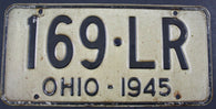 1945 Vintage Original OHIO License Plate 169-LR