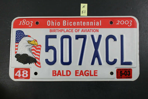 OHIO License Plate 507-XCL Embossed Bald Eagle 2003 Sticker (N-51