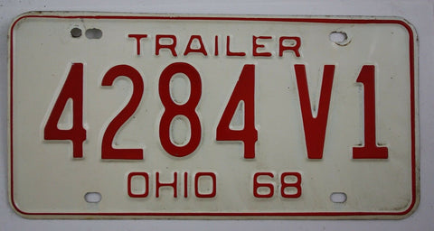 1968 Vintage Original Ohio License Plate 4284 V1