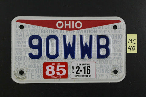 2013 OHIO MOTORCYCLE License Plate 90WWB 2016 STICKER State Pride (MC40