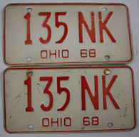 1968 Vintage Original Ohio License Plate 135-NK PAIR