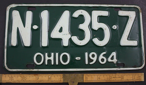 1964 Vintage Original OHIO License Plate N-1435-Z