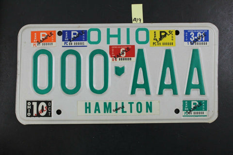 1985 HAMILTON OHIO SAMPLE License Plate 000-AAA Stickers 1986 87 88 89 90 91 A19