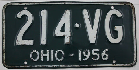 1956 Vintage Original Ohio License Plates 214-VG