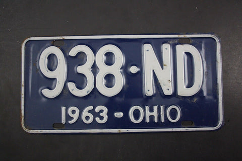 1963 Vintage Original OHIO License Plate 938-ND