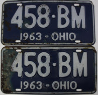 1963 Vintage Original  Ohio License Plate Tag  458-BM PAIR