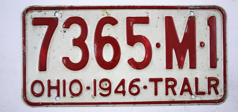 Vintage 1946 Original OHIO Trailer License Plate 7365-M-1