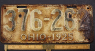 1925  Vintage Original OHIO License Plate Tag  376-262