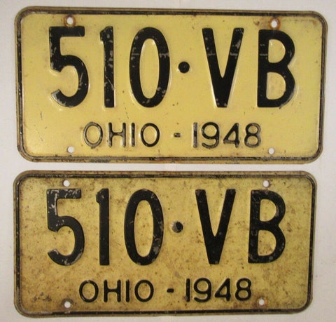1948 Vintage Original OHIO License Plate 510-VB PAIR