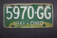 1961 Vintage Original Ohio License Plate 5970-GG