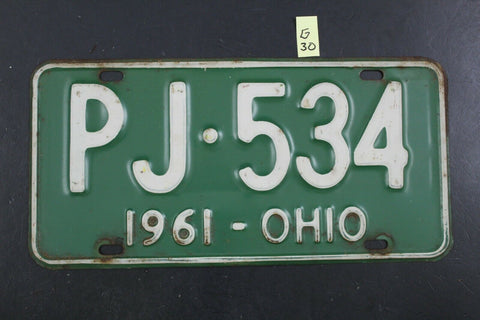 Vintage 1961 OHIO License Plate PJ-534 (G30