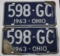 1963 Vintage Original OHIO License Plate Tag 598-GC PAIR