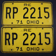 1971 Vintage Original Ohio License Plate RP-2215 RE PAIR