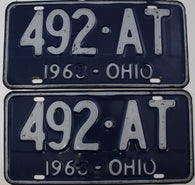 1963 Vintage Original  Ohio License Plate Tag  492-AT PAIR