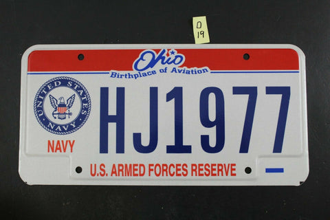 Vintage 2004 OHIO License Plate HJ1977 NAVY U.S. Armed Forces Reserve D19