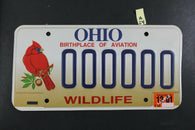 2000 OHIO SAMPLE License Plate 000000 w 2001 Sticker OH Aviation WILDLIFE A24