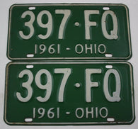 1961 Vintage Original Ohio License Plates 397-FQ PAIR