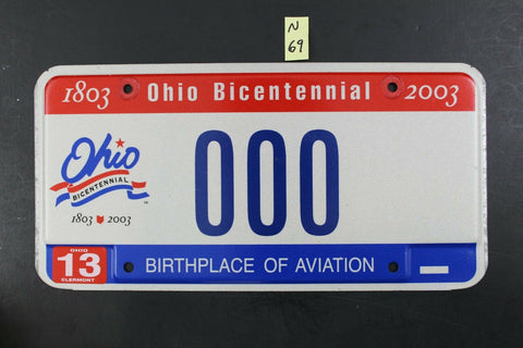 2001 OHIO License Plate 000 Birthplace of Aviation (N-69