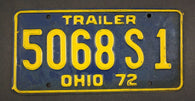 1972 Vintage Original Ohio License Plate 5068-S-1 TRAILER