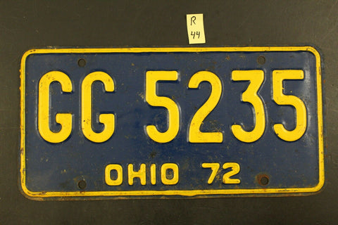Vintage 1972 OHIO License Plate GG-5235 (R-44